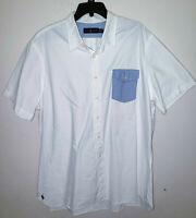 Mens Polo Ralph Lauren Short Sleeve White Button Up Shirt Blue Pocket Size XXL