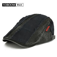 VOBOOM Men's BLACK Stitching Beret Newsboy Cap Gatsby Ivy Hat Golf Flat Cabbie