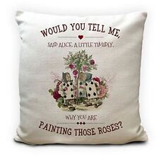 Alice in Wonderland Playing Cards Cushion Cover, Painting Roses Queen of Hearts