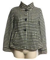 DINOMODA Designer Womens UK 8 XS Crop Coat Blazer Jacket Hounds Check Monochrome