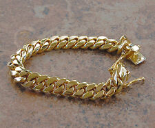 "Solid 14K Gold Miami Men's Cuban Curb Link Bracelet 8"" Heavy 67.9 Grams 10mm"