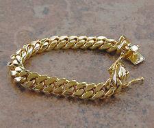 "Link Bracelet 8"" Heavy 67.9 Gram 10mm Solid 14K Gold Miami Men's Cuban Curb"