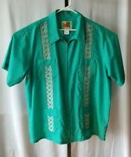 The Genuine Haband Guayabera Shirt Sz 2XL Zip Up Green Embroidered Short Sleeve