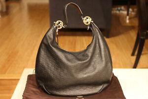 GUCCI Black Guccissima Leather GG Twins Hobo Bag