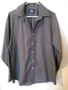 Men's Stafford Wrinkle Free Grey Striped Button Dress Shirt 16 1/2 (34/35)
