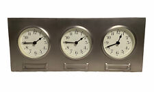 Pottery Barn Around The World 3 Time Zone Clocks BRUSHED NICKEL SILVER Metal EUC