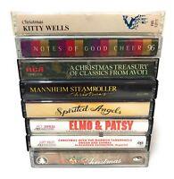 Christmas Music Cassette Tape Lot Mannheim Steamroller Kitty Wells Elmo Patsy +