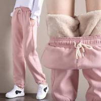 Winter Women Gym Sweatpants Workout Fleece Trousers Thick Warm Sport Pa xb