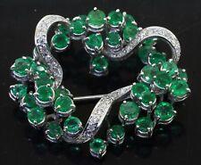 beautiful 10.37Ctw diamond/emerald cluster brooch Swissart vintage heavy 14K Wg