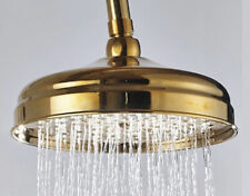 "Traditional Gold SS 8"" Round Bathroom Rain Shower Head Replacement WELS"