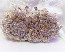 Gold  Color~New~Handmade High Quality Austria Crystal Evening Purse Clutch Bag