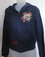 NWT Ed Hardy Graphic Hoodie Full Zip Skull Rose Navy Size XS