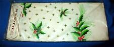 """VTG 1960'S GIBSON PAKAY XMAS HOLLY PAPER PARTY TABLECLOTH,ex lg  60""""X102"""" CRAFTS"""