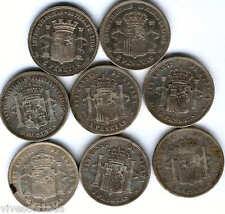 LOS OCHO MODELOS DIFERENTES de las 5 pesetas de plata Españolas @ Duro @