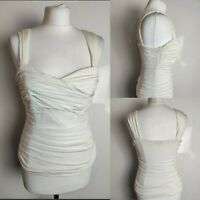 Phase Eight Women's White Top Ruched Bustier Stretch Fitted Bodycon Party 12