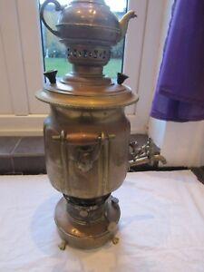 "VINTAGE RUSSIAN SAMOVAR with teapot approx 22"" tall nice kerosene burner"