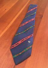 Gucci Mens Tie Horse Bit Whip Stripe Red Blue 100% Silk Italy Necktie Flawed