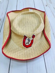 Kids Cowboy Straw Midway Hat Red Trim Vintage Horseshoe Patch Collectible