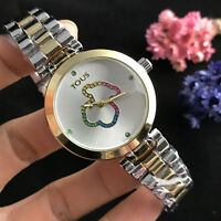 New Fashion Stainless steel Wristwatch Color crystal Teddy bear Watch
