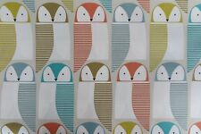 """1 METER PINK OWL MULTI COLOURED QUALITY POLLY COTTON FABRIC 42"""" WIDE  £2.50"""