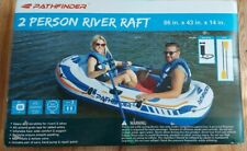 Pathfinder Two Person River Lake Inflatable Raft w/Hand Pump & 2 Oars 86 x 43 in