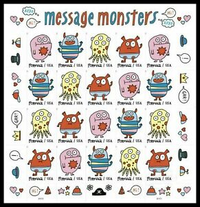 2021 MNH US #5639a MESSAGE MONSTERS No Die Cuts (NDC Imperf) Pane of 20