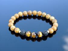 Wooden Jasper Tiger Eye Natural Gemstone Bracelet 6-9'' Elasticated Healing