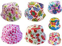 Kids Girls Summer Bucket Sun Hat Age 3 4 5 6 Strawberry Flower Heart Pink Purple