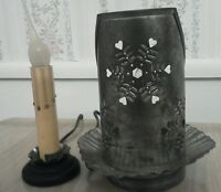 Tin Candle Lamps set of 2 primitive decor accent lamps Punched snowflake Winter