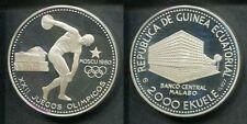 1980 Equatorial Guinea Large Silver Proof 2000 E Moscow Olympics Ancient Discus
