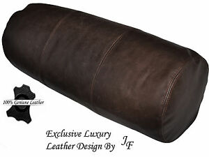 "EXCLUSIVE LUXURY GENUINE DISTRESS BROWN LEATHER CUSHION BOLSTER ROLL 9"" x 24"""