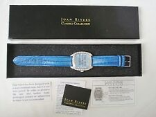 Joan Rivers Classics Watch Rhinestones Chunky Blue Reptile Leather Band Silver