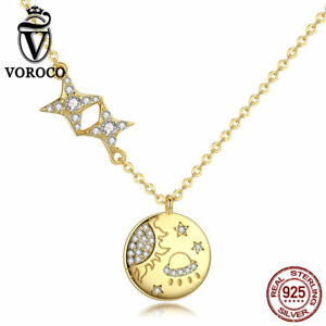 VOROCO Sterling Silver Fashion Sun and Star Tag charm necklace with Gold Plating