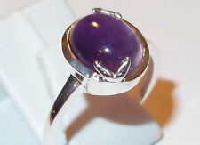 Enclosed Amethyst oval cabochon, 3.25ct, in Sterling Silver, Size R.