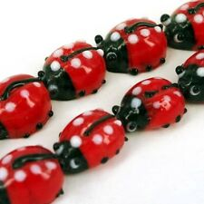 Glass RED LADY BIRD BEADS x JEWELLERY MAKING CRAFT beads G16
