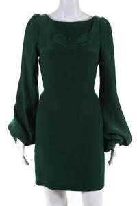 Elizabeth and James Womens Silk Long Sleeve Dress Green Size 10