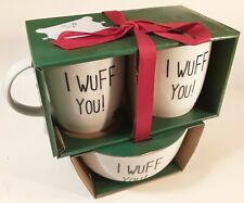 Holiday Gift Dog Bowl and Coffee Cup Boxed Set 2 Cups Bowl Ribbon Clean Package