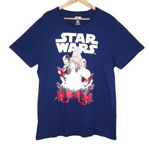 Star Wars Christmas Carol Singers Mens T-Shirt Blue Size XXL Han, Luke, Leia