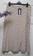 M&S collection beige/white linen blend diagonal striped wrap skirt 14 bnwt