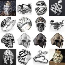 Punk Rings Resizable Stainless Steel Alloy Vintage Gothic Biker Men Women Band