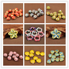 5Pcs Fashion Jewelry Mixing Shape Ceramic Porcelain Loose Spacer Big Hole Beads