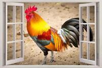 Rooster 3D Window Decal Wall Sticker Home Decor Art Mural Animals Birds J921