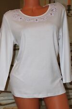 (ref 18) M&S Pure Cotton White T Shirt/Top  in Size 14