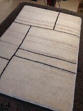 Beni Ourain Moroccan Area Rug  2' X 3' hand knotted Rug White /brown New Soft