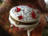Vintage Ceramic / Porcelain Jeweled Trinket Box/ Holder Footed Velvet Blue Lined