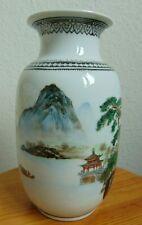 Chinesische Porzellan Vase handbemalt Asiatika Berg- Meer Landschaft Klippe Boot