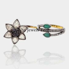 Natural Rose Cut Diamond & Diamond Polki, Emerald 925 Sterling Silver Ring