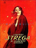 Liquore Strega Italian Liquor  Vintage Poster Print Retro Fashion Lady With Rose