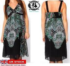 Chiffon V-Neck Animal Print Sleeveless Dresses for Women