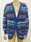 Vintage RETRO PURE NEW WOOL CARDIGAN Jumper Sweater Top HIPSTER S M L